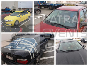 Πάτρα: Δείτε τα αυτοκίνητα που έσπασαν στη Γέφυρα από πτώση πάγου (pics)