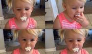 Mικρή δοκιμάζει για πρώτη φορά σαντιγί (video)