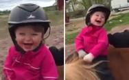 Κοριτσάκι κάνει ιππασία για πρώτη φορά (video)