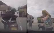 Έπεσε με το μηχανάκι του πάνω σε σταματημένο αυτοκίνητο... επίτηδες (video)