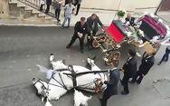 Άλογο που σέρνει γαμήλια άμαξα πέφτει στο έδαφος από την εξάντληση (video)