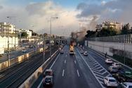 Φορτηγό τυλίχθηκε στις φλόγες στην Αττική Οδό