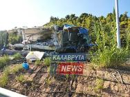 Αχαΐα: Νταλίκα εξετράπη της πορείας της (φωτο)