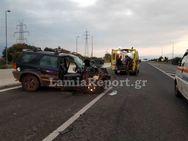 Αθηνών - Λαμίας: ΙΧ έπεσε σε προπορευόμενο όχημα (φωτο)