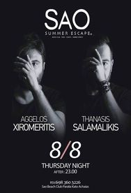 Aggelos Xiromeritis & Thanasis Salamalikis at Sao Beach Bar