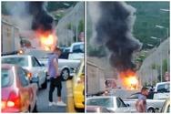 Φωτιά εκδηλώθηκε σε λεωφορείο στην Εγνατία Οδό (video)