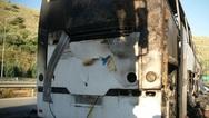 Φωτιά σε τουριστικό λεωφορείο στην εθνική οδό Αθηνών - Θεσσαλονίκης