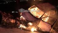 Έπεσε στον γκρεμό, πήρε φωτιά το αυτοκίνητο του και γλίτωσε!