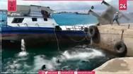 Γερανός που σηκώνει κοντέινερ τουμπάρει και πέφτει μέσα στη θάλασσα (video)