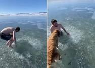 Η βουτιά σε παγωμένη λίμνη δεν ήταν καθόλου καλή ιδέα (video)