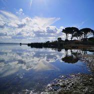 Στροφυλιά - Ήλιος και σύννεφα καθρεφτίζονται στα νερά των βάλτων (φωτο)
