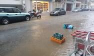 Πλημμύρισαν δρόμοι στη Ναύπακτο (pics+video)