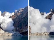 Τεράστια χιονοστιβάδα διακόπτει selfie video