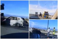 Αυτοκίνητο τυλίχθηκε στις φλόγες στην Εθνική οδό Πατρών-Αθηνών (video)