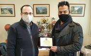 Τιμητική πλακέτα απονεμήθηκε στον Πρόεδρο του Επιμελητηρίου Αχαΐας,Πλάτωνα Μαρλαφέκα από την Ένωση Αστυνομικών Υπαλλήλων