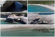 Μοναδικό! Η παραλία της Ελλάδας που βρίσκεται μέσα σε κρατήρα - Βγαίνει στη θάλασσα με πέτρινη καμάρα (video)