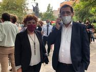 Ο Κώστας Πελετίδης και η Κατερίνα Γεροπαναγιώτη παρευρέθηκαν στην τελετή αποχαιρετισμού του Μίκη Θεοδωράκη