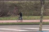 Ποδηλάτης προσπαθεί να νικήσει τους θυελλώδεις ανέμους (video)
