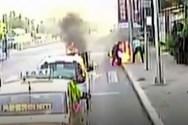 Οδηγός λεωφορείου έσωσε άνδρα που καιγόταν (video)