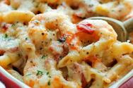 Σουφλέ ζυμαρικών με γαρίδες