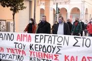 Πάτρα: Ο Κώστας Πελετίδης στη συγκέντρωση - πορεία διαμαρτυρίας του ΕΚΠ για τα δυο εργατικά ατυχήματα