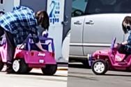 Γυναίκα βγήκε για ψώνια οδηγώντας… παιδικό αυτοκινητάκι (video)