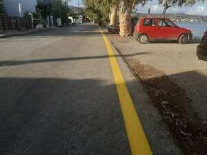 Πάτρα - Κίτρινη διαγράμμιση στην παραλιακή οδό Μονοδενδρίου και Βραχνεΐκων (φωτο)