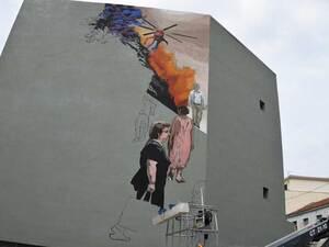 Πάτρα - Μια τοιχογραφία εμπνευσμένη από τον Καραγκιόζη στο 2ο Γυμνάσιο (φωτο)