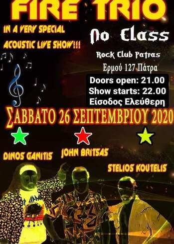 Fire Trio Special Acoustic Live Show at No Class - Rock Club Patras