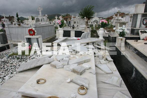 Ούτε οι νεκροί δεν ξέφυγαν από τη μανία του καιρού -  Ζημιές στα νεκροταφεία της Ηλείας (pics)