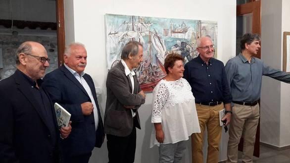 Ο δήμαρχος Ναυπακτίας Παναγιώτης Λουκόπουλος, ο Χρήστος Σαλαμούρας, ο καλλιτέχνης Franco Murer, η πρόξενος Margherita Bovicelli, ο κ. Γιάννης Ράπτης (Art Lepanto) και επιμελητής της έκθεσης Νίκος Καλατζής