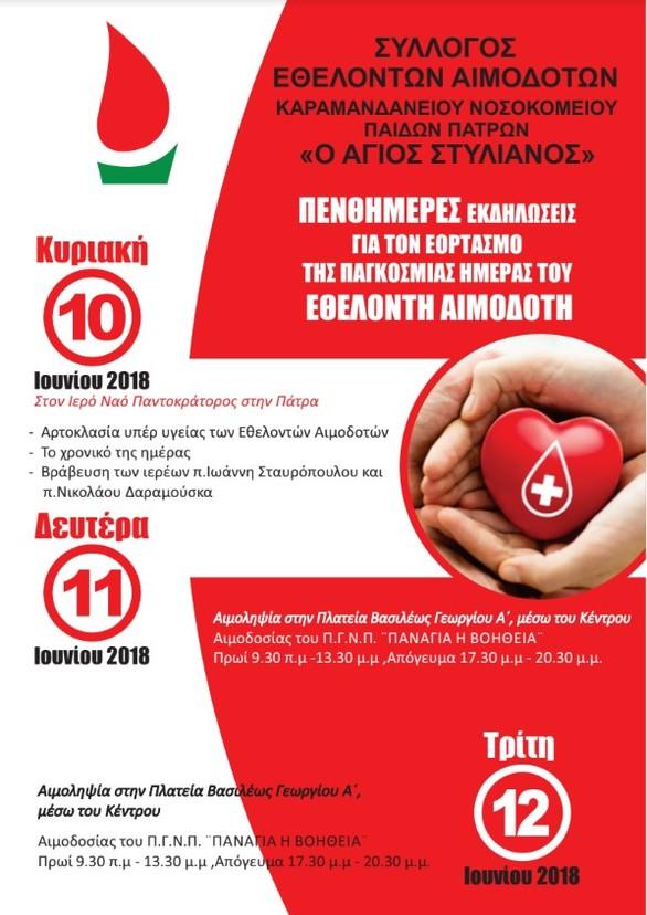 Εβδομάδα Εθελοντή Αιμοδότη στην Πάτρα!