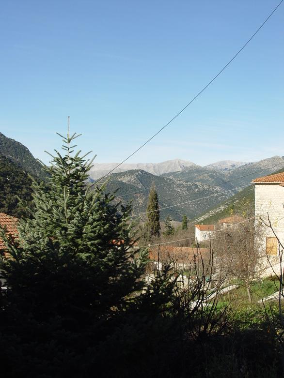 Θέα της οροσειράς του Ερύμανθου από την είσοδο του οικοπέδου