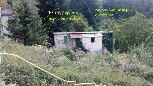 Το κτίριο με το οικόπεδο μπροστά και πίσω