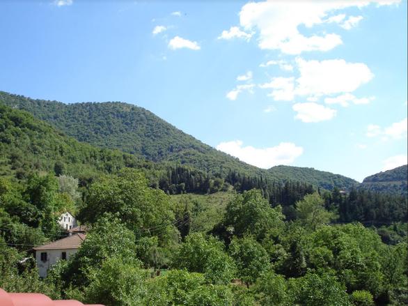 Γενική άποψη κατοικιών του χωριού από τον δρόμο των Καλαβρύτων