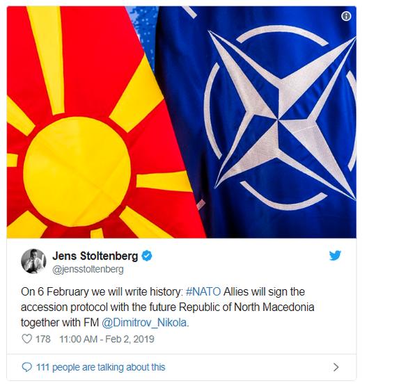 Στις 6 Φεβρουαρίου η υπογραφή του πρωτοκόλλου ένταξης της «μελλοντικής Βόρειας Μακεδονίας» στο ΝΑΤΟ