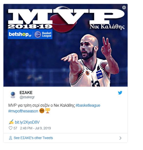 Basket League: Ο Νικ Καλάθης MVP για τρίτη σερί σεζόν