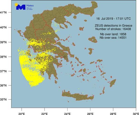 Ο «Αντίνοος» έριξε στο Ιόνιο 15.000 κεραυνούς - 1.500 έπεσαν χθες στη Δυτική Ελλάδα (pic+video)