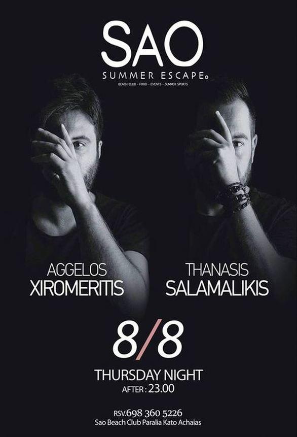 Aggelos Xiromeritis & Thanasis Salamalikis at Sao Beach Bar
