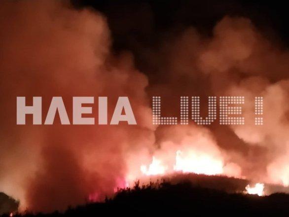 Ηλεία: Μεγάλη φωτιά τη νύχτα έξω από τον Πύργο! (φωτο)