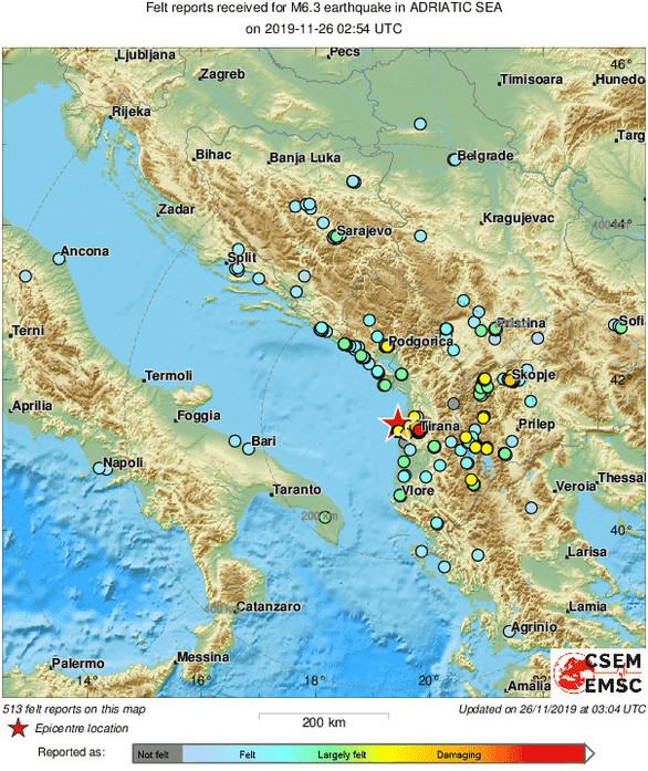 Ισχυρός σεισμός 6,4 Ρίχτερ στην Αλβανία