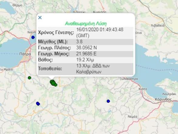 Διπλή σεισμική δόνηση τα ξημερώματα στην Αχαΐα