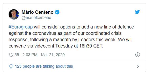 Σεντένο: Το Eurogroup θα εξετάσει νέα γραμμής άμυνας κατά του κορωνοϊού