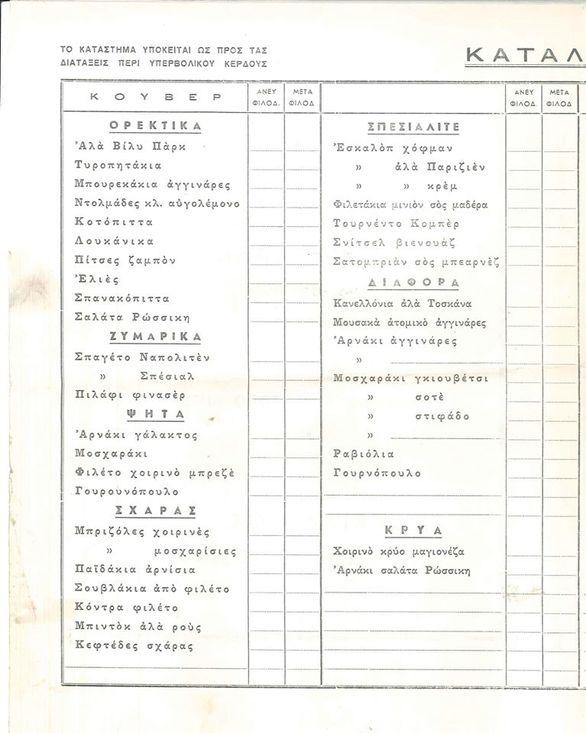 Οι τιμοκατάλογοι της δεκαετίας του '70 στα καταστήματα εστίασης της Πάτρας (pics)