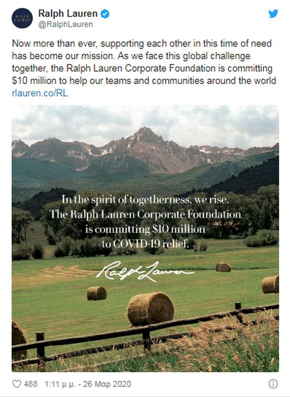 Κορωνοϊός: Δωρεά δέκα εκατ. δολαρίων από τον Ralph Lauren