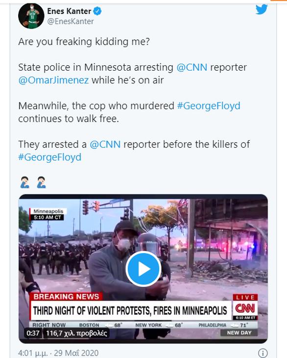 Καντέρ: «Συλλαμβάνουν ρεπόρτερ και ο δολοφόνος του Φλόιντ κυκλοφορεί ελεύθερος»