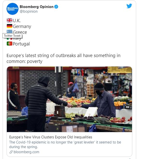 Bloomberg: Το νέο κύμα κορωνοϊού στην Ευρώπη «χτυπά» πιο φτωχές περιοχές