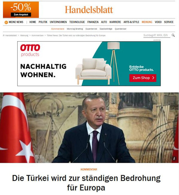 Handelsblatt: «Η Τουρκία εξελίσσεται σε διαρκή απειλή για την Ευρώπη»