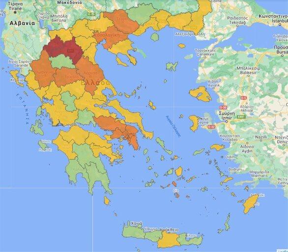 Κορωνοϊός - Χάρτης υγειονομικής ασφάλειας: Ποιες περιοχές αλλάζουν χρώμα και επίπεδο συναγερμού από σήμερα
