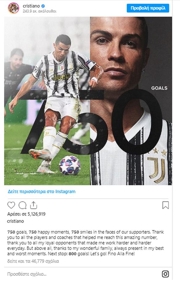 Κριστιάνο: Επόμενος στόχος του τα 800 γκολ